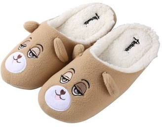 Aerusi Toddler Flopsy Teddy Bear Indoor Slippers