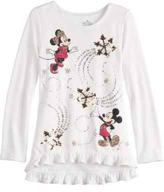 Disneyjumping Beans Disney's Minnie & Mickey Mouse Toddler Girl Sequined Graphics Top by Jumping Beans