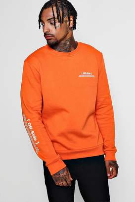 boohoo Off Side Sleeve Print Sweatshirt
