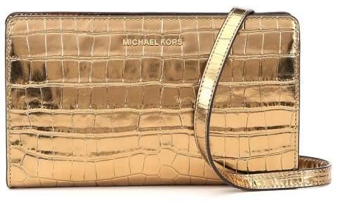 Michael Kors Jet Set Travel Metallic Embossed-Leather - Crossbody Clutch - Gold - 32F7MF5C3K-710 - GOLD - STYLE