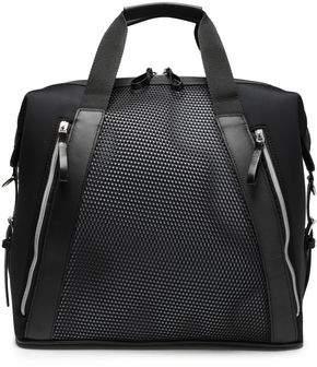 Monreal London Leather-trimmed Mesh-paneled Neoprene Weekend Bag