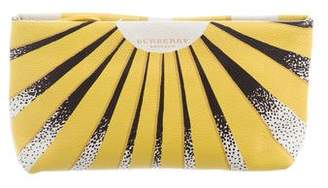 Burberry Book Cover Print Leather Clutch w/ Tags