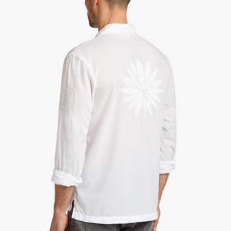 James Perse COTTON LAWN EMBROIDERED LOTUS SHIRT