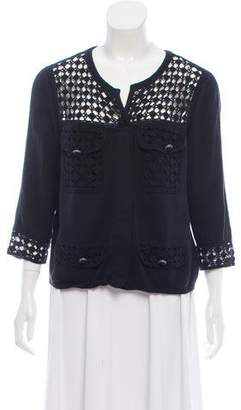 Chanel Crochet-Accented Crew Neck Cardigan