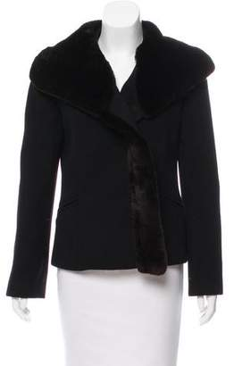 Giorgio Armani Fur-Trimmed Structured Jacket