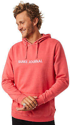 New Banks Men's Label Mens Pullover Hood Cotton Pu Red Xxl