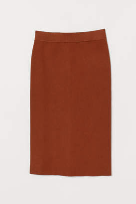 H&M Ribbed Pencil Skirt - Orange