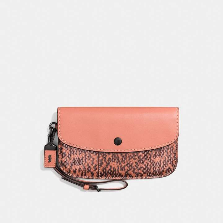 Coach New YorkCoach Clutch With Colorblock Snakeskin Detail - BLACK COPPER/MELON - STYLE