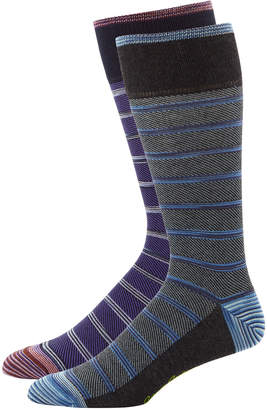 Robert Graham Men's Striped Dress Socks, Two Pack