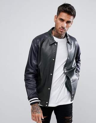 Asos DESIGN Leather Varsity Jacket In Bottle Green