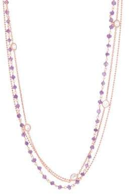 Lord & Taylor Triple-Layered Cubic Zirconia and 18K Rose Gold Station Necklace