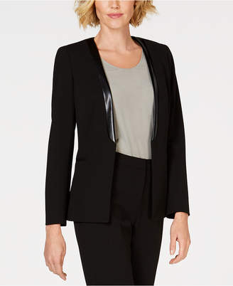 Kasper Shawl-Collar Jacket With Faux-Leather Trim