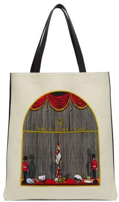 Loewe Queen's Guard Print Canvas And Leather Tote Bag - Womens - Beige Multi