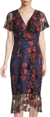 Jax Embroidered Ruffled Cocktail Dress