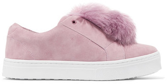 Sam Edelman - Leya Faux Fur-embellished Suede Slip-on Sneakers - Pink $100 thestylecure.com