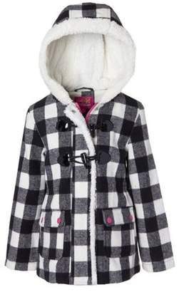 Pink Platinum Sherpa Lined Buffalo Check Wool Blend Toggle Coat (Little Girls & Big Girls)