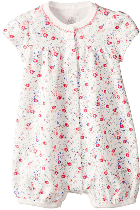Petit Bateau Baby Girl Flower Print Cotton Coverall