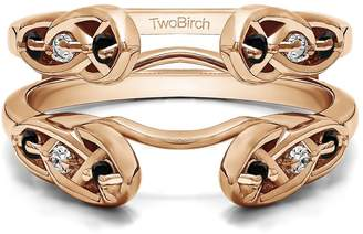 Celtic TwoBirch Rose Gold Plated Sterling Silver Infinity Ring Guard Enhancer with And White Cubic Zirconia (0.24 ct. tw.)