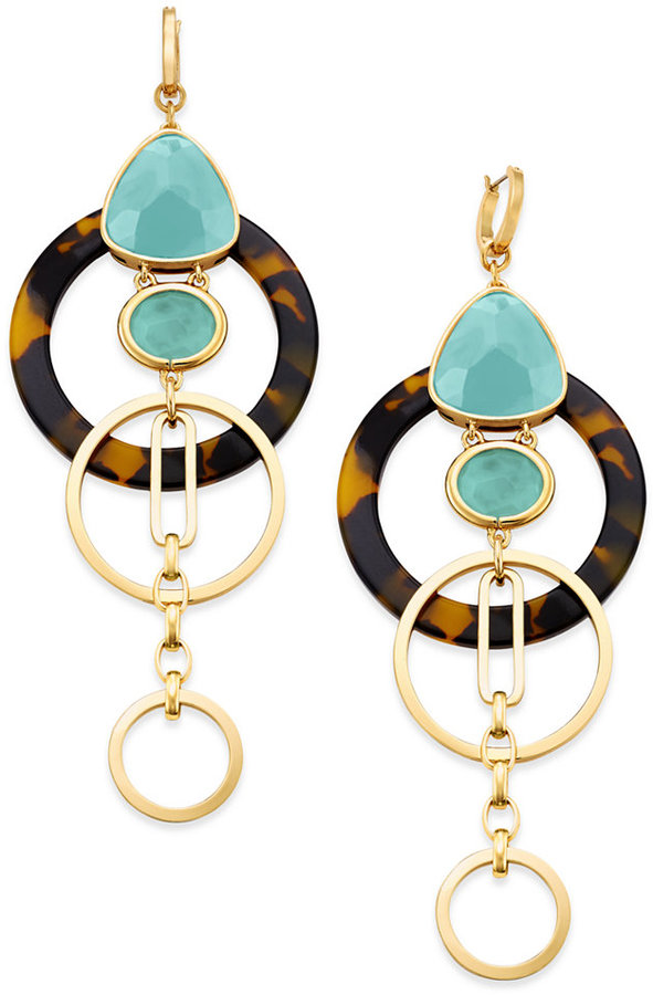 Kate Spadekate spade new york Sun-Kissed Sparkle Gold-Tone Triple-Drop Geometric Earrings