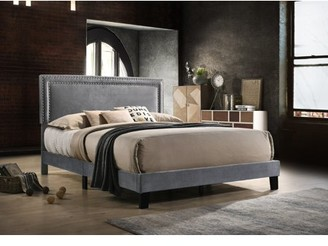 Best Quality Furniture Upholstered Panel Bed Navy Blue or Gray in Multiple Sizes