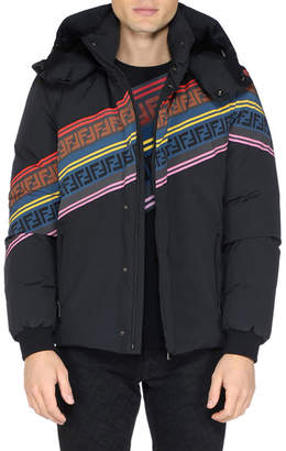 Men's Multicolor Retro Diagonal Stripe Ski Jacket
