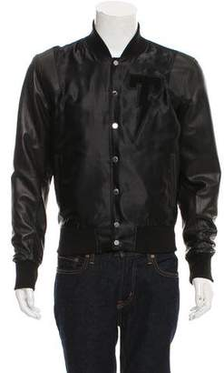 Tackma Leather-Trimmed Bomber Jacket