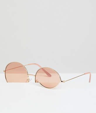 baf7a896e7aa ... A. J. Morgan AJ Morgan metal round sunglasses in gold/blush