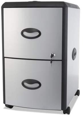Storex Two-Drawer Mobile Filing Cabinet, Metal Siding, 19w x 15d x 23h, Silver/Black -STX61351U01C