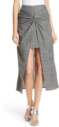 AMUR Zola Knot Front Stretch Wool Skirt