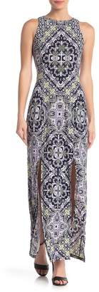 London Times Printed Sleeveless Maxi Dress