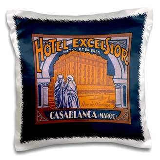 Excelsior 3dRose Hotel Casablanca Maroc Vintage Luggage Label - Pillow Case, 16 by 16-inch