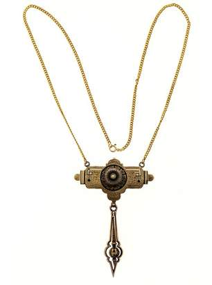 14K Yellow Gold with Pearl & Enamel Architectural Style Pendant Necklace