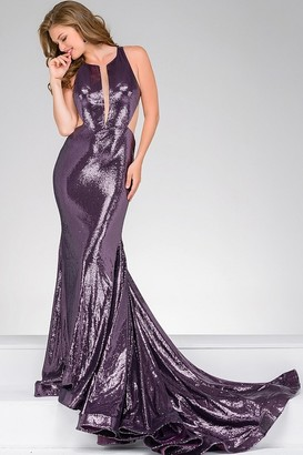 Jovani - Sequined Jewel Neckline Mesh V-Insert Mermaid Dress 45399 $750 thestylecure.com