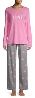 Hue Two-Piece Love Cat Printed Pajama Set