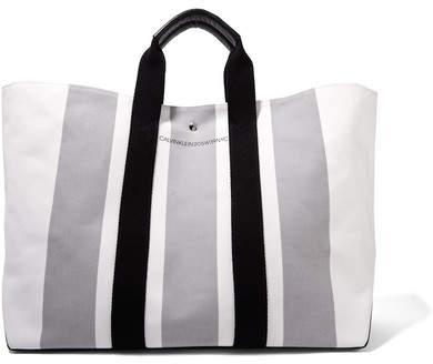 CALVIN KLEIN 205W39NYC - Leather-trimmed Striped Canvas Tote - White