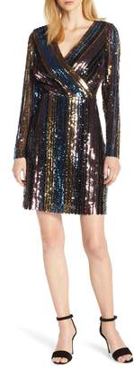 Sam Edelman Sam Edleman Rainbow Stripe Sequin Wrap Front Dress