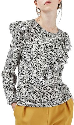 Women's Topshop Animal Print Ruffle Blouse $65 thestylecure.com