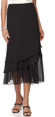 Alex Evenings Skirt, Tiered Chiffon Midi