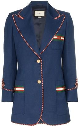 Gucci contrast-piping blazer