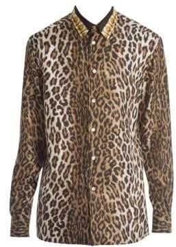 Versace Cheetah Long-Sleeve Silk Blouse
