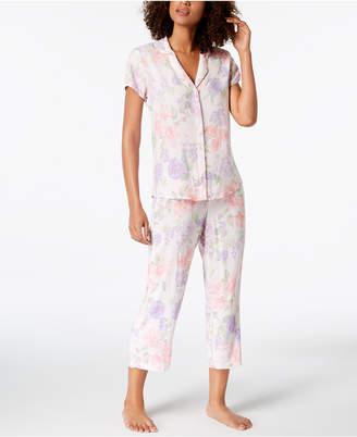 Miss Elaine Printed Short-Sleeve Woven Pajama Set