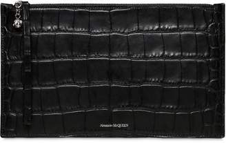 Alexander McQueen Zip Tec Croc Embossed Leather Pouch