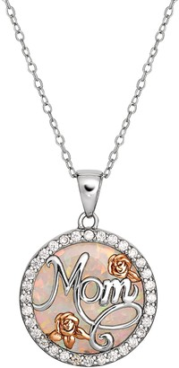 """Hallmark Two Tone Sterling Silver Lab-Created White Opal """"Mom"""" Pendant"""
