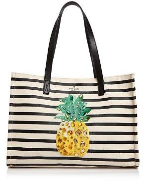 Kate Spade By The Pool Pineapple Mega Sam Embellished Canvas Tote