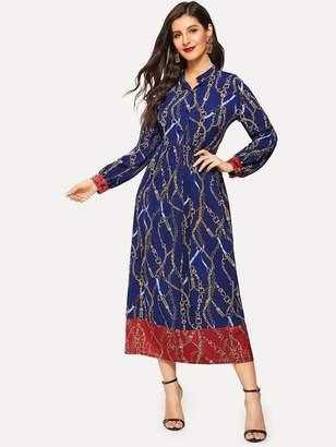 Shein Chain Print Button Half Placket Dress
