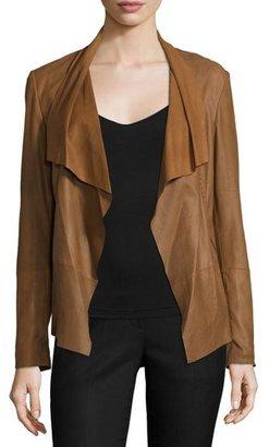 Neiman Marcus Pick-Stitch Draped-Front Suede Jacket, Chestnut $395 thestylecure.com