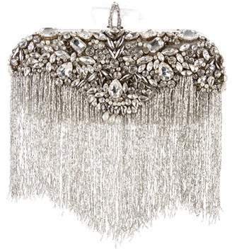 Marchesa Crystal-Embellished Lily Fringe Clutch
