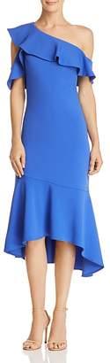 Laundry by Shelli Segal One-Shoulder Ruffle-Trim Dress