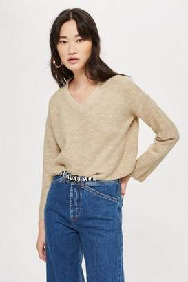 Topshop Cropped V-Neck Jumper With Mohair