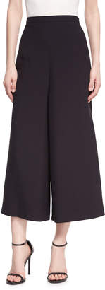 Andrew Gn Wide-Leg Cropped Crepe Pants Black